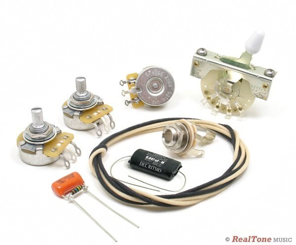 deluxe wiring upgrade kit for strat with treble bleed mod. Black Bedroom Furniture Sets. Home Design Ideas