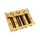 Omega 'Badass' Style Replacement 4 String Bridge - Grooved Saddles - Gold